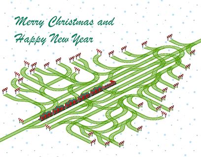 Merry Christmas Railroad Card