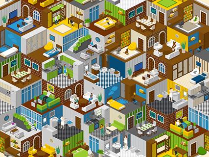 Rooms Illustration Background