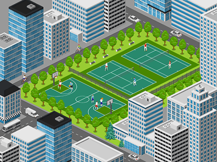 Sport courts in the city