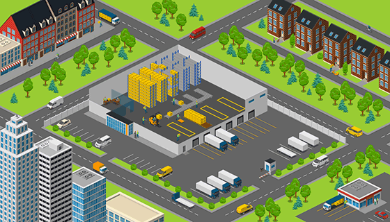 Warehouse in a city